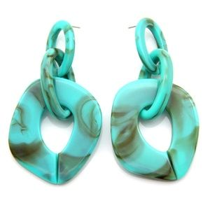 Turquoise Acrylic Large Round Drop Earrings